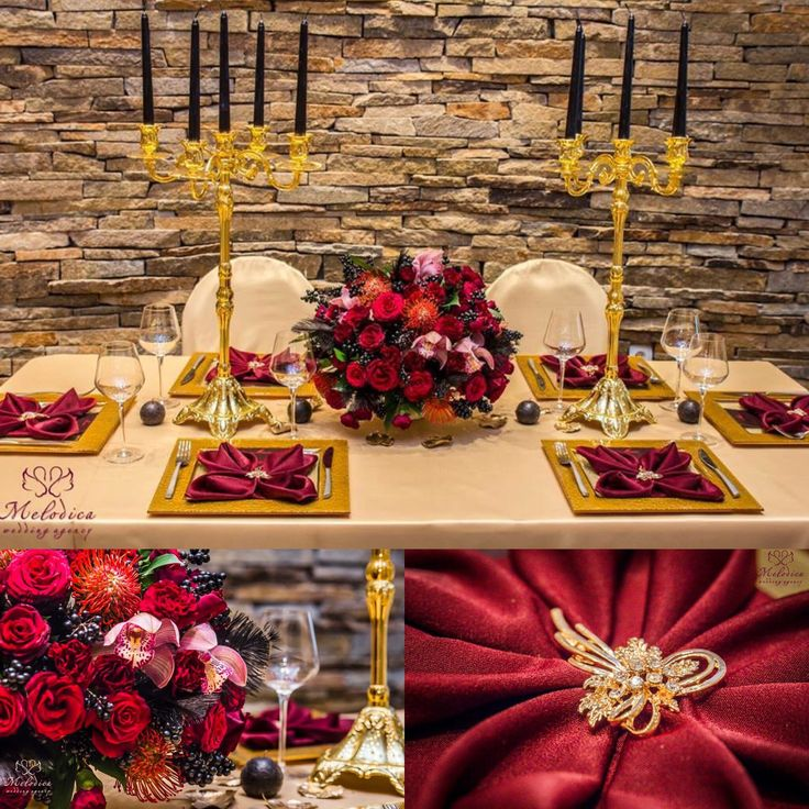 Marsala, black and gold wedding decoration by Melodica Wedding Agency!