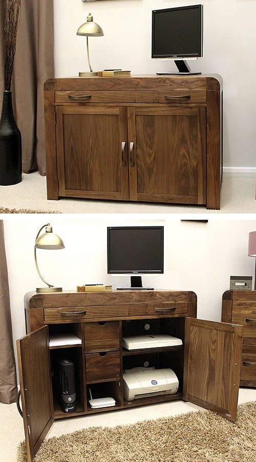 solid walnut hidden home office. Shiro Solid Walnut Hidden Home Office