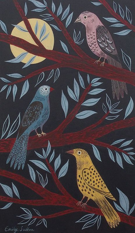Emily Sutton: Moonlit Finches, mixed media on wood, image size 19 x 32 cm