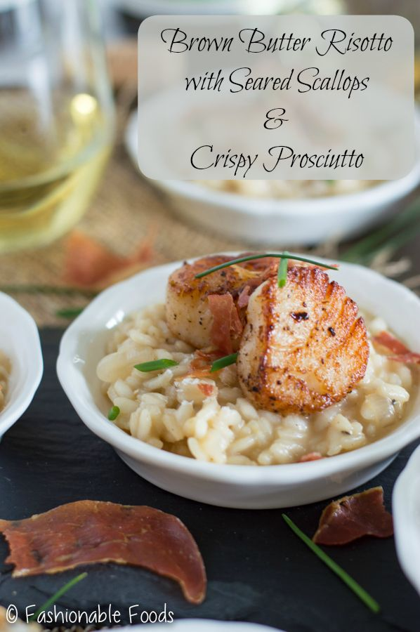 Brown butter risotto is rich and creamy, making the perfect pairing to seared scallops. Top it off with crispy prosciutto and you've got a delicious and tasty appetizer that'll be great for a wine tasting!