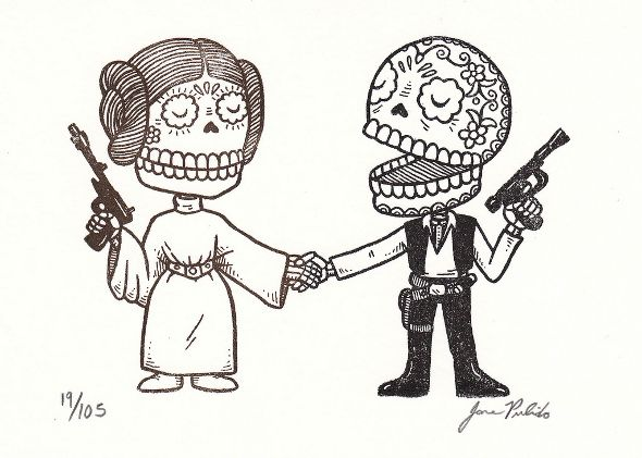 Star Wars Princess Leia and Han Solo Depicted with Traditional Mexican Art