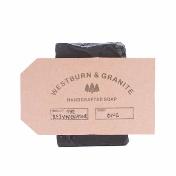 Westburn&Granite The Rejuvenator Soap Bar: The Rejuvenator uses cosmetic grade charcoal to both attract and absorb dirt and oil, while the aloe oil in the bar acts as a skin 'rejuvenator' and high antioxidant provider, helping hydrate skin. Cedar wood and rose water gives it a rounded sweet smokey scent, with rose water also helping to hydrate, revitalise and moisturise skin.  Essential Ingredients: Aloe barbadensis (aloe vera with coconut oil) Activated carbon (activated charcoal cosmetic…