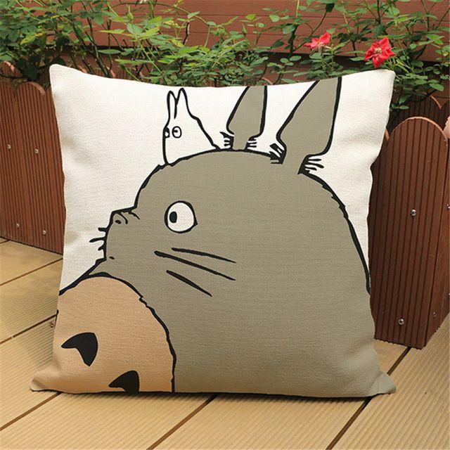 Cartoon Chair Decorative Sofa Cushion Cover Pillow Case Pouf Retro Print Totoro Square Pillow Cover Home Decor 18 inches e698