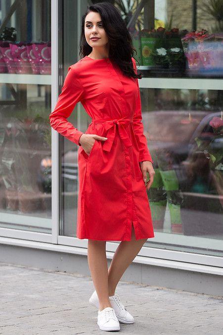 abd0b549351525f Коралловое платье-рубашка Rena из хлопка с пуговицами и поясом, без ...