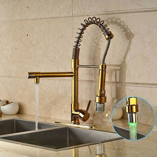 Gold Deck Mounted Swivel Led Spout Kitchen Sink Faucet Pull Out Spring Mixer Tap With Cover Plate $137.45 - Https://Goo.Gl/Z5Q0Op  Supply Remodeling Discount Mildlyinteresting Forsale Designer Decor Remodel Sale Home Interesting Contractor Rennovation Best Hardware  Style: Contemporary Number Of Handles: Single Handle Surface Treatment: Polished Spray Type: None Style: Single Holder Single Hole Type: Ceramic Plate Spool Valve Core Material: Ceramic Surface Finishing: Brass Number Of Holes…