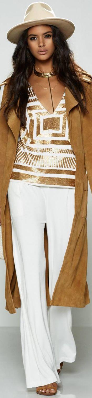 Mara Hoffman  ~ White + Gold Satin Embellished Top, White Trousers