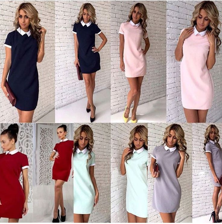 TURN DOWN COLLAR STYLE STRAIGHT MINI DRESS