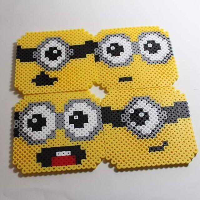 Minion coasters perler beads by danallic_907