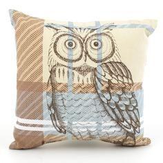 Woodland Retreat Check Owl Cushion