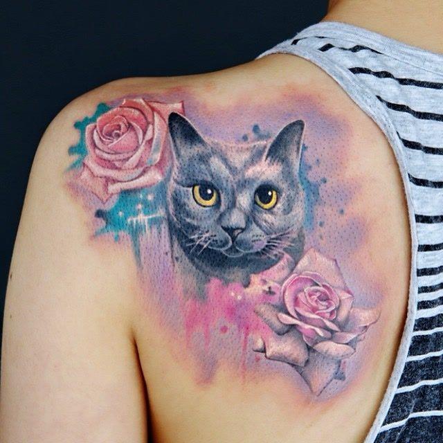 zhencangtattoo via Instagram - Cat Tattoo