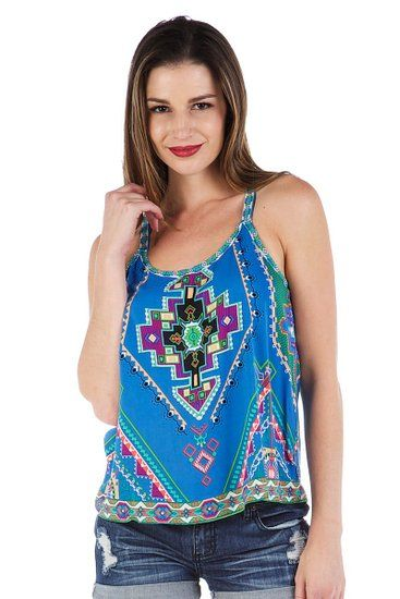 Soul Escape Women's Loose Casual Tank Top Shirt in Blue Aztec Print