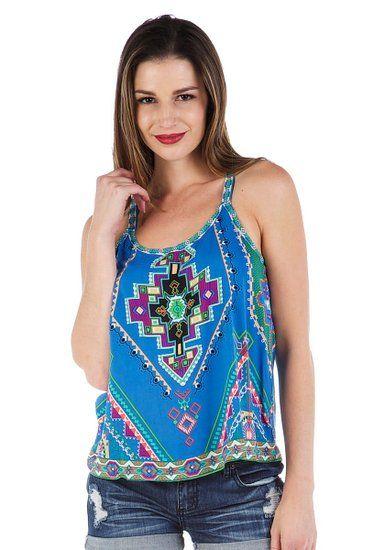 Soul Escape Women's Loose Casual Tank Top Shirt in Blue Aztec Print