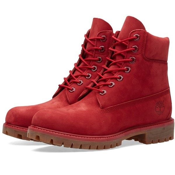 """Timberland 6"""" Premium Boot (Red Monochromatic) (3.405.685 IDR) ❤ liked on Polyvore featuring shoes, boots, timberland boots, timberland shoes, timberland footwear, red boots and red shoes"""