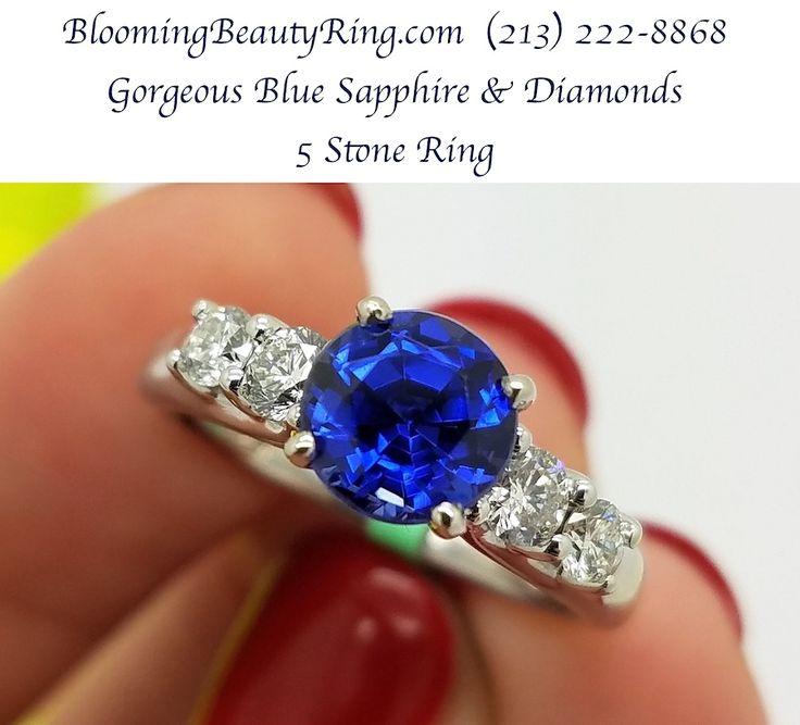 BloomingBeautyRing.com - A stunning 5 stone #DiamondRing with a beautiful #BlueSapphire