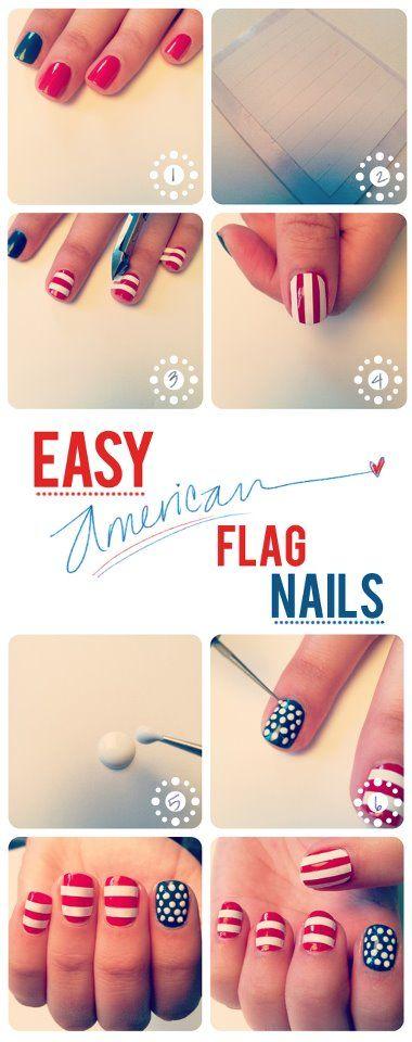 Cosa serve: smalto blu, smalto rosso, smalto bianco, strisce adesive bianche, dotting tool  -pitturare le unghie di rosso tranne l'indice di blu -applicare le strisce adesive bianche su…