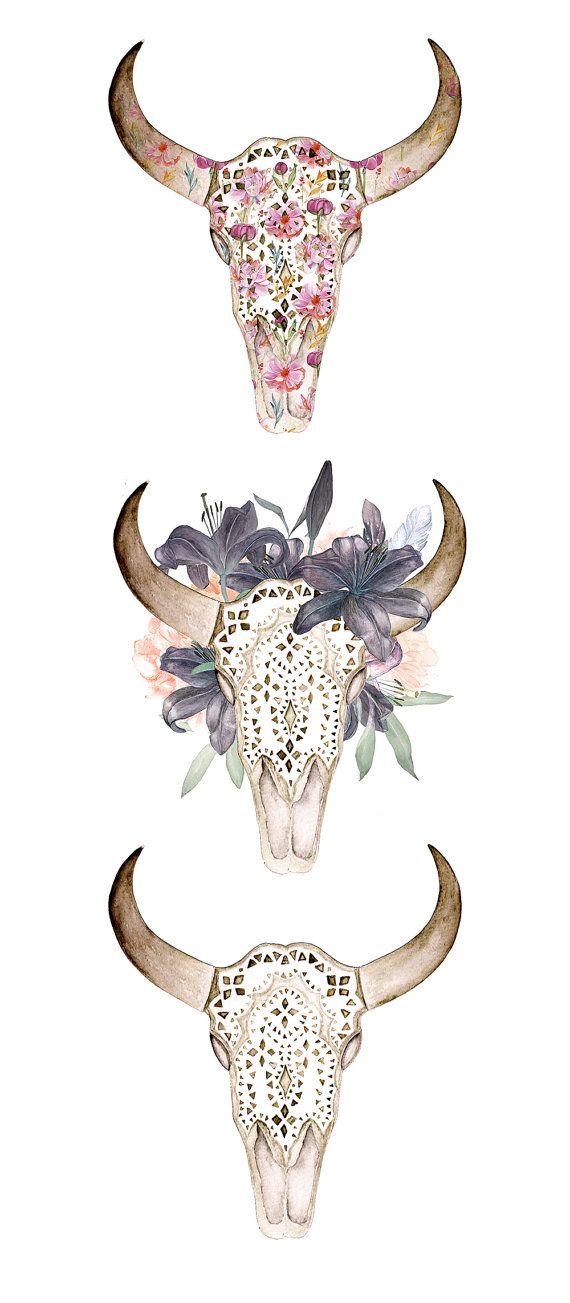 Tête de mort aquarelle à bois dans les fleurs, peint à la primary, ornement, pivoines, plumes, Lila, florale, inviter, tribales, bricolage, fleurs, boho cerf