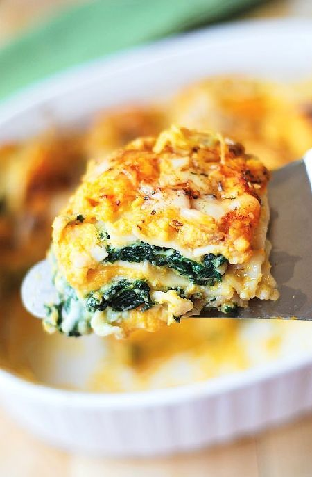 Low FODMAP Recipe and Gluten Free Recipe - Roast pumpkin & spinach lasagne ---- http://www.ibs-health.com/low_fodmap_recipe_pumpkin_spinach_lasagne.html