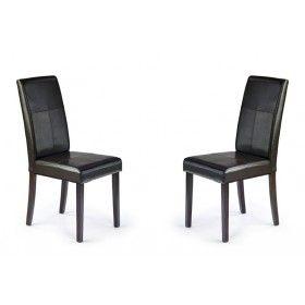 Krzesło Kerry Bis Halmar ciemny brąz zestaw 2 krzeseł