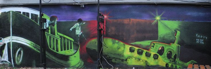 Streetart Graffiti Writing Commissioned Auftrag Hannover Germany Deutschland maritime Ship SChiff Uboot yellow submarine nacht night surrealism Odie ODIY OdoNormal