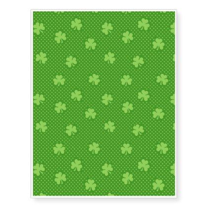 Green Shamrock Clover Pattern Saint Patricks Day Temporary Tattoos - pattern sample design template diy cyo customize