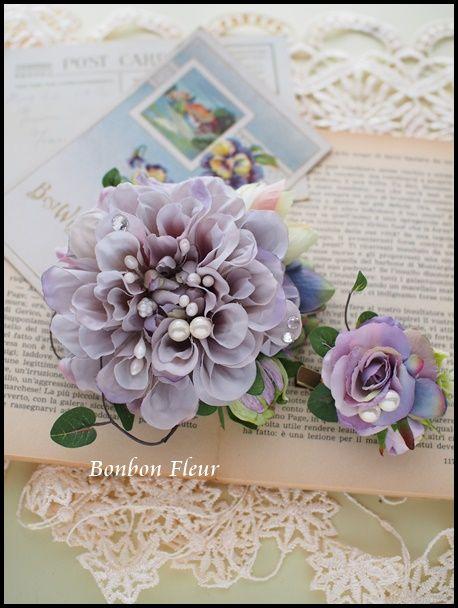 ペアコサージュ : Bonbon Fleur ~ Jours heureux コサージュ&和装髪飾り