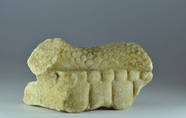 Roman marble snake fragment from Asklepios rod, 1st century A.D. Snake skin naturalistically rendered, 10.2 cm long. Private collection