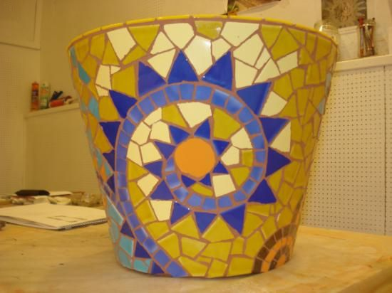 jardinera de mosaico jardinera material cerámico mosaico