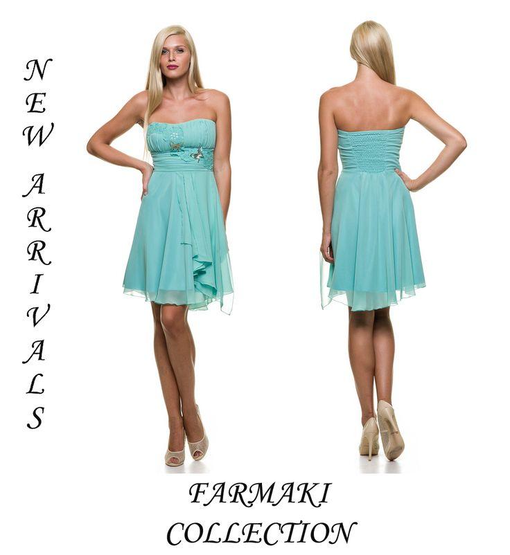 Φόρεμα κοντό, στράπλες ή με ράντες, άλφα γραμμή. Ύφασμα μουσελίνα.