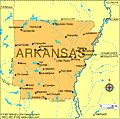 Map of Arkansas the 25th state to join the union, on June 15, 1836.  The capital is Little Rock.