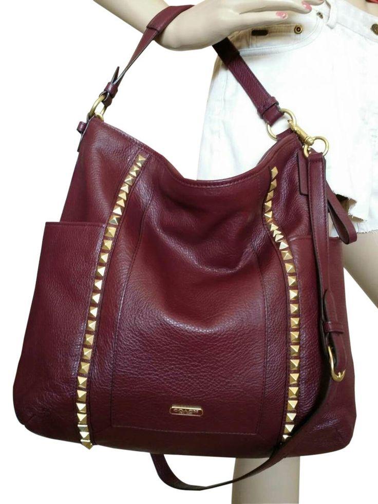 Coach Park Leather Pyramid Stud Hobo Brass Handbag ...