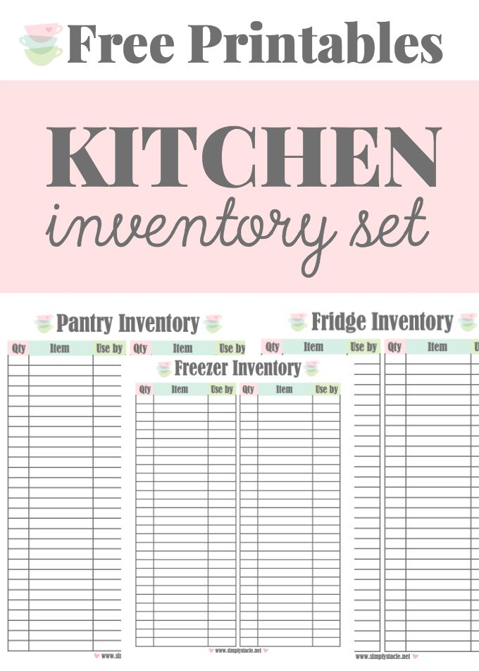 Kitchen Inventory Printables - These free printables will help with meal planning and grocery shopping. It includes a pantry, fridge and freezer inventory.                                                                                                                                                                                 More