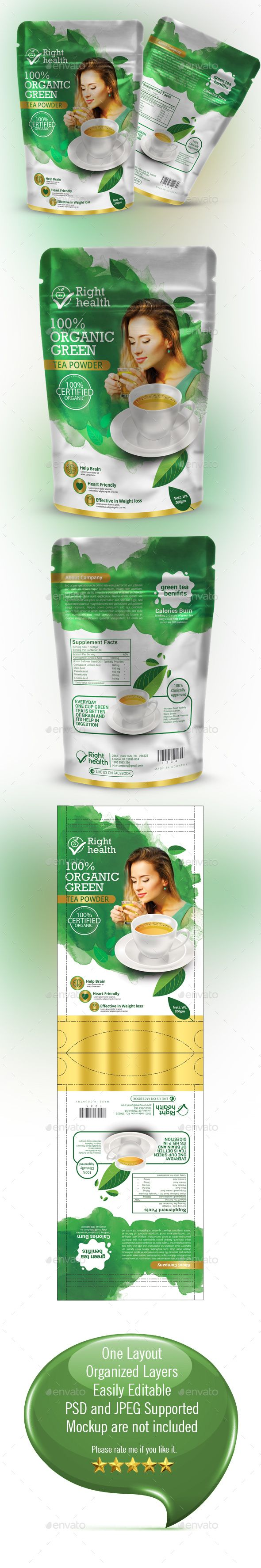 Tea Packaging Design Template - Packaging Design Print Template PSD. Download here: https://graphicriver.net/item/tea-packaging-template/19445040?ref=yinkira