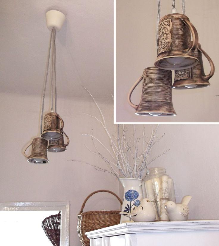 lampa sufitowa: klosze z kubków, przewód w oplocie/ hanging lamp from mugs, braided wire; author: Michał