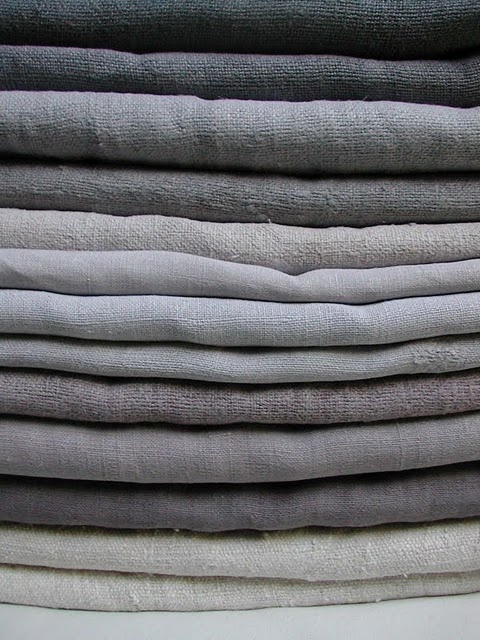 Linen and hemp - I have such mixed feelings  multiple greys. They never clash, but they never seem to look right together either. I think this picture is about losing my fear of the monochrome.