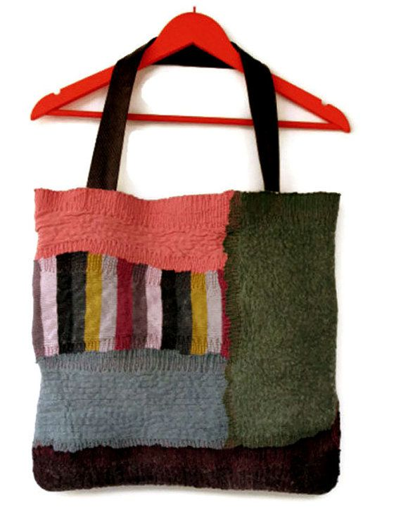 nuno felted tote bag pink green blue plum with by gaiagirard