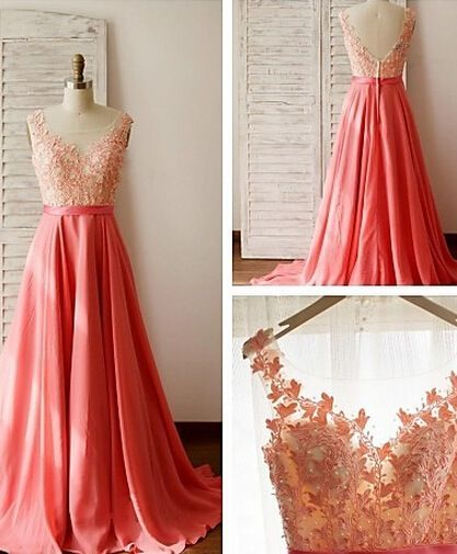 Coral Prom Dresses,2016 Evening Dresses,New Fashion Prom Gowns,Elegant Prom Dress,Lace Prom Dresses,Chiffon Evening Gowns,Simple Formal Dress For Teen