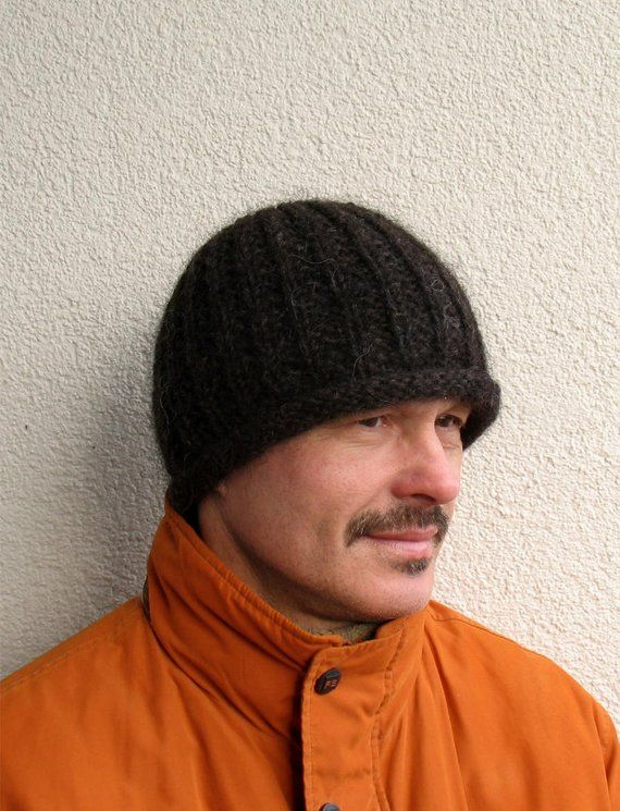 Mens winter hat 100% natural icelandic wool ECO black hat Mens handmade  pure wool hat Mens knitted black hat Winter mens Roll Brim hat warm c6fe4e4f95b7