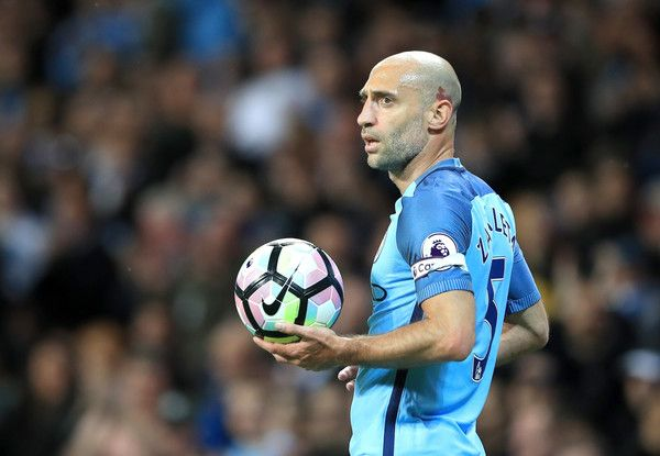 Pablo Zabaleta Photos Photos - Pablo Zabaleta of Manchester City prepares to take a throw in during the Premier League match between Manchester City and West Bromwich Albion at Etihad Stadium on May 16, 2017 in Manchester, England. - Manchester City v West Bromwich Albion - Premier League