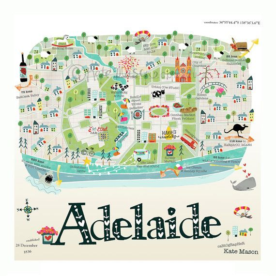 Adelaide Map Square PRINT by MessyMissKate on Etsy