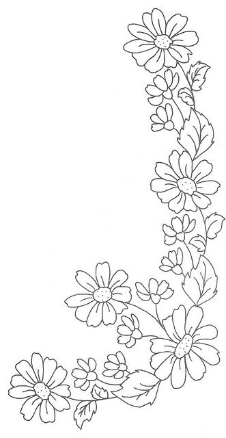 daisy chain, sew, trace, colouring, drawing