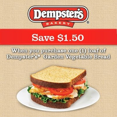 Coupon - Save $1.50 on Dempster's Garden Vegetable Bread