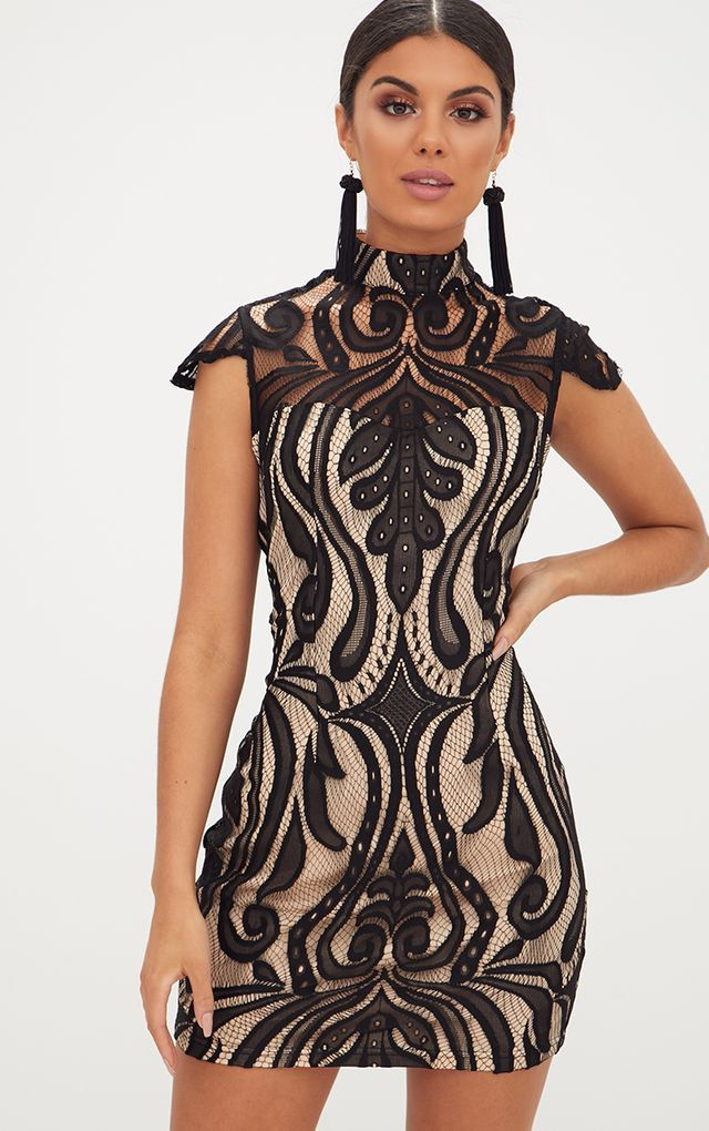 Black Lace Cap Sleeve Bodycon Dress Clothing Pinterest Bodycon