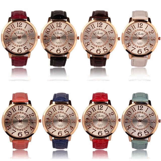 Dueable 2016 New Arrival Watch Women Fashion Numerals Golden Dial Leather Analog Quartz Watch