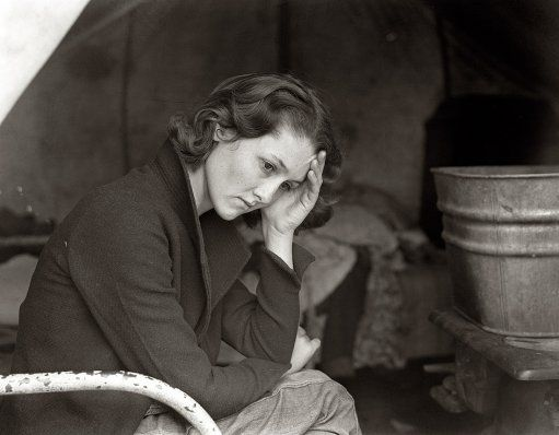 """November 1936. """"Daughter of migrant Tennessee coal miner. Living in American River camp near Sacramento, California."""" by Dorothea Lange for the Farm Security Administration."""