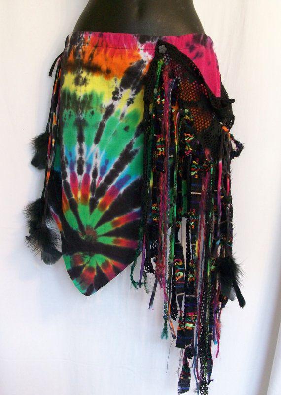 Tie dye skirt festival skirt burning man hippie skirt by LamaLuz