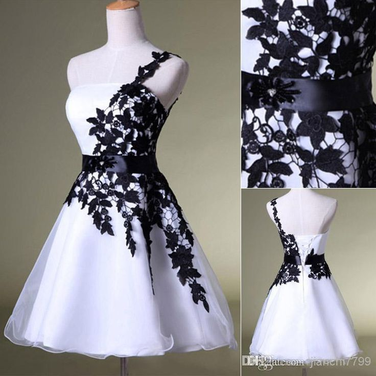 Real Image Black White Tulle Homecoming Short Prom Dresses Appliques One Shoulder Mini Cocktail Bridal Party Gowns 2014 Cheap HY Under$50 Online with $71.21/Piece on Jianchi7799's Store   DHgate.com