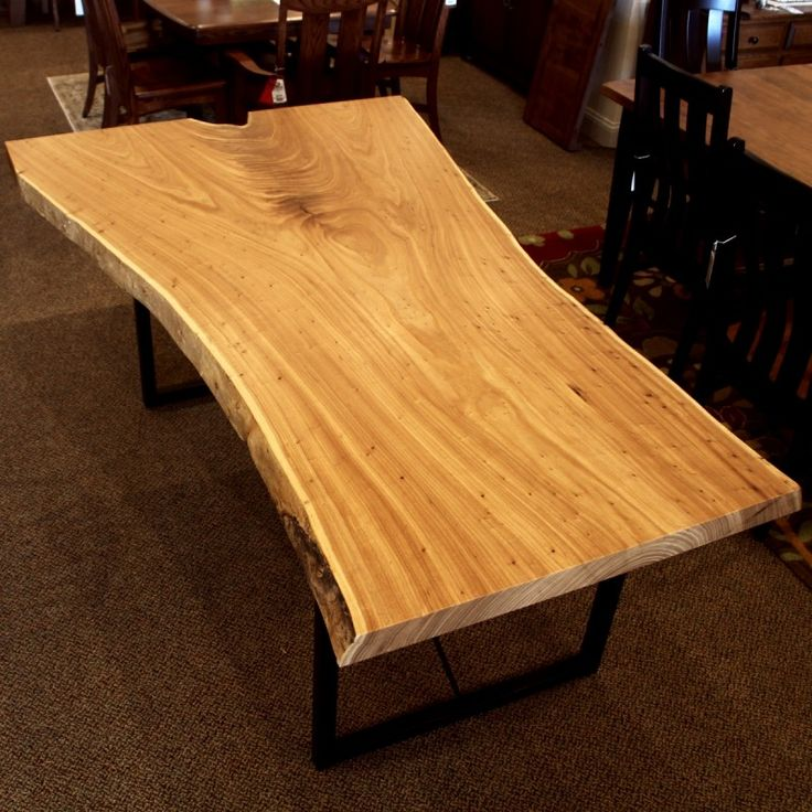 Browse Country Lane Furnitureu0027s Amish Live Edge Slab Tables Like This Elm  Live Edge Slab, With Custom Sizes And Wood Species Available.