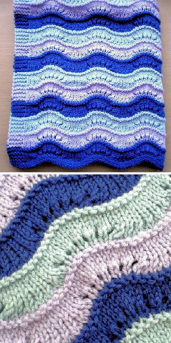 Easy to knit Wavy baby blanket pattern in DK