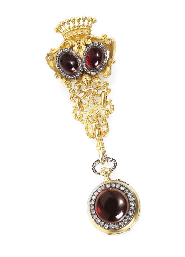 Swiss -  A YELLOW GOLD, DIAMOND AND GARNET-SET KEYLESS WATCH WITH CHATELAINE CIRCA 1870
