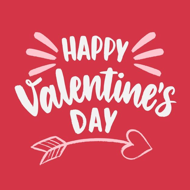 Happy Valentine S Day Lettering With Cupid Arrow Happy Valentine Valentines Wallpaper Valentines Day Clipart